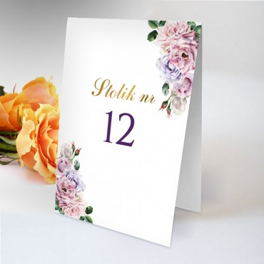 Numery stolików na wesele Akwarela 02