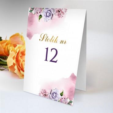 Numery stolików na wesele Akwarela 03