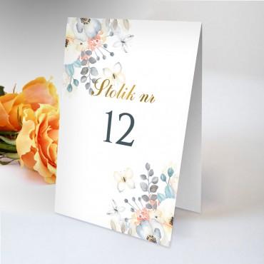Numery stolików na wesele Akwarela 07