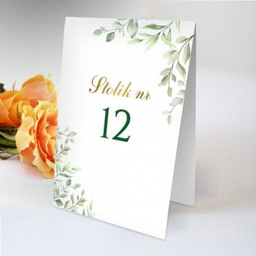 Numery stolików na wesele Akwarela 09