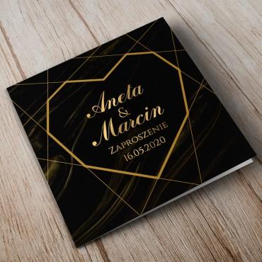 Zaproszenia Ślubne Marmur i Złoto 01