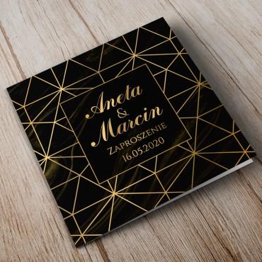 Zaproszenia Ślubne Marmur i Złoto 07