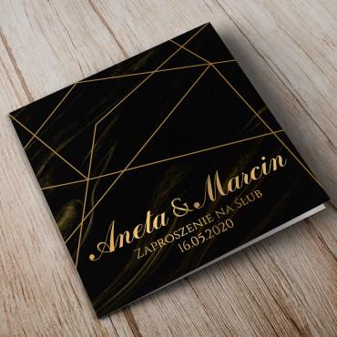 Zaproszenia Ślubne Marmur i Złoto 09