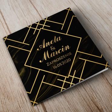 Zaproszenia Ślubne Marmur i Złoto 11