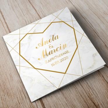 Zaproszenia Ślubne Marmur i Złoto 02