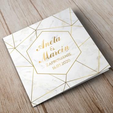 Zaproszenia Ślubne Marmur i Złoto 04