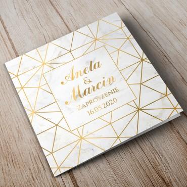 Zaproszenia Ślubne Marmur i Złoto 08