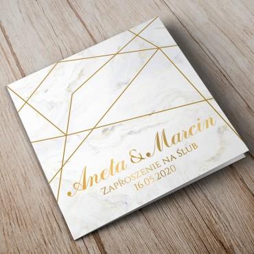 Zaproszenia Ślubne Marmur i Złoto 10