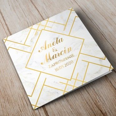 Zaproszenia Ślubne Marmur i Złoto 12