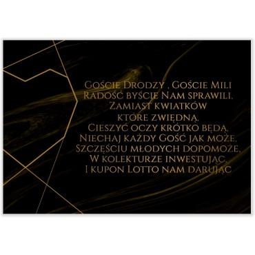 Bileciki do Zaproszeń Marmur i Złoto 01