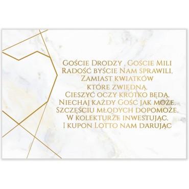 Bileciki do Zaproszeń Marmur i Złoto 02