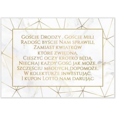Bileciki do Zaproszeń Marmur i Złoto 04