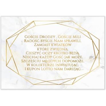 Bileciki do Zaproszeń Marmur i Złoto 06