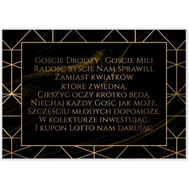 Bileciki do Zaproszeń Marmur i Złoto 07