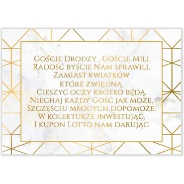 Bileciki do Zaproszeń Marmur i Złoto 08