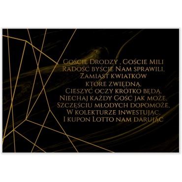 Bileciki do Zaproszeń Marmur i Złoto 09