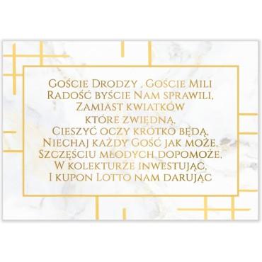 Bileciki do Zaproszeń Marmur i Złoto 12
