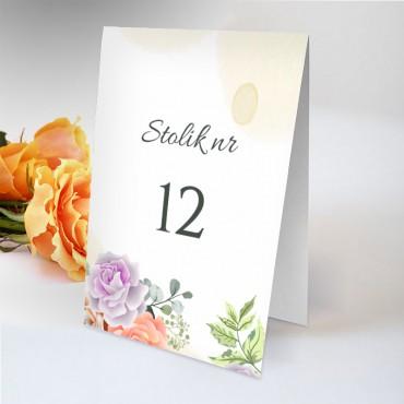 Numery stolików na wesele Pastelowa 05