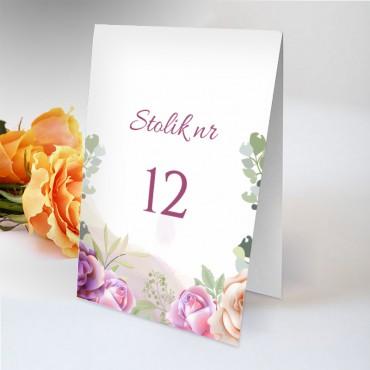 Numery stolików na wesele Pastelowa 06