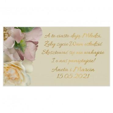 Etykiety na ciasto weselne Floral 03