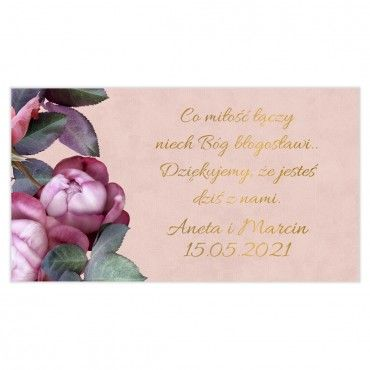 Etykiety na ciasto weselne Floral 08