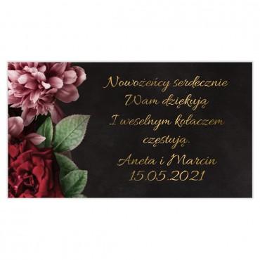 Etykiety na ciasto weselne Floral 16