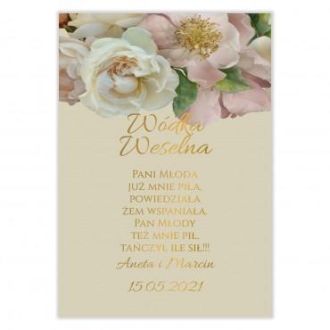 Naklejki na Wódkę Weselną Floral 03
