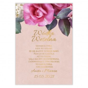 Naklejki na Wódkę Weselną Floral 08