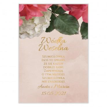 Naklejki na Wódkę Weselną Floral 09