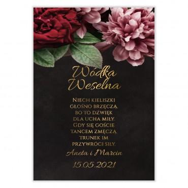 Naklejki na Wódkę Weselną Floral 16