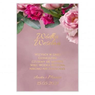 Naklejki na Wódkę Weselną Floral 18