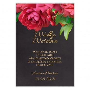 Naklejki na Wódkę Weselną Floral 19