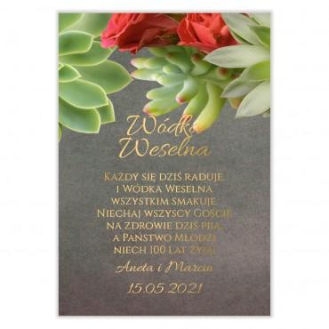 Naklejki na Wódkę Weselną Floral 20