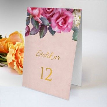 Numery stolików na wesele Floral 08