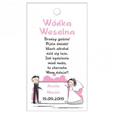 Zawieszki na wódkę weselną z kolekcji zabawna.