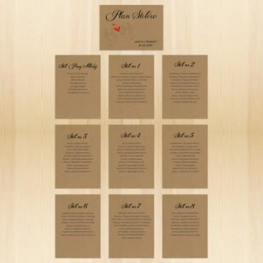 Plan stołów, rozmieszczenia stolików na papierze eko Kraft.