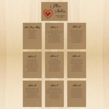 Plan stołów weselnych, rozmieszczenia gości na weselu na papierze eko Kraft.
