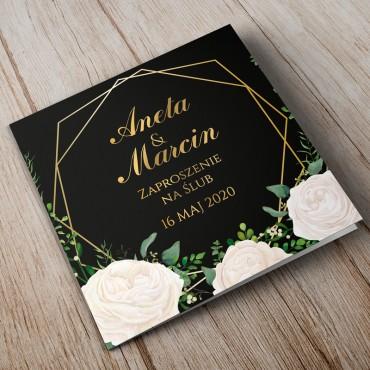 Zaproszenia ślubne kwiatowe, glamour, złote geometryczne kształty.