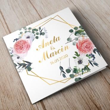 Zaproszenia ślubne kwiatowe, złote geometryczne kształty.
