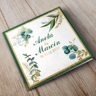 Zaproszenia ślubne Botaniczne z kwiatami eukaliptusa i paproci w kolorach butelkowo zielonym i złotym