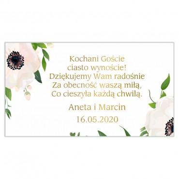 Etykiety na ciasto weselne Kwiatowe 01b