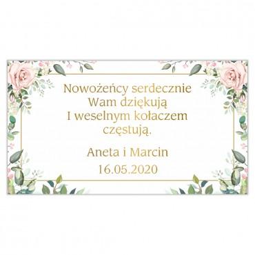 Etykiety na ciasto weselne Kwiatowe 08b