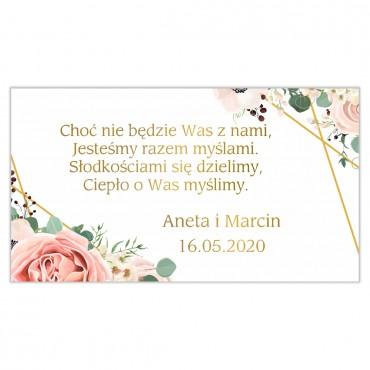 Etykiety na ciasto weselne Kwiatowe 12b