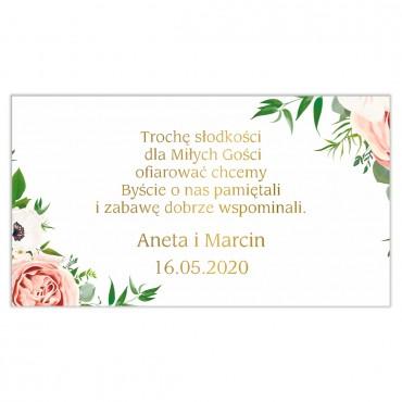 Etykiety na ciasto weselne Kwiatowe 15b