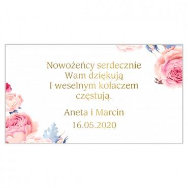 Etykiety na ciasto weselne Kwiatowe 18b