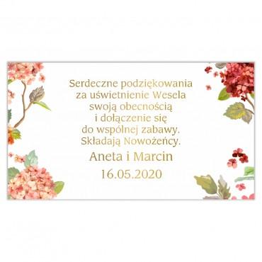 Etykiety na ciasto weselne Kwiatowe 20b