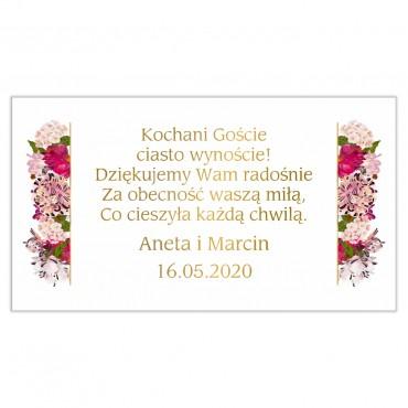 Etykiety na ciasto weselne Kwiatowe 21b