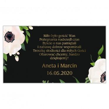 Etykiety na ciasto weselne Kwiatowe 01a