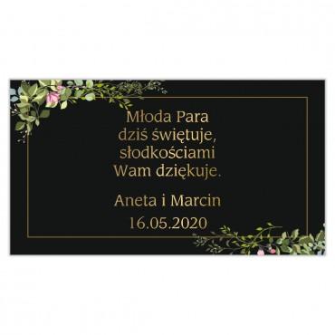Etykiety na ciasto weselne Kwiatowe 07a