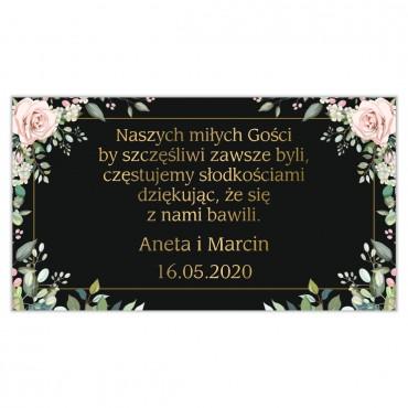 Etykiety na ciasto weselne Kwiatowe 08a